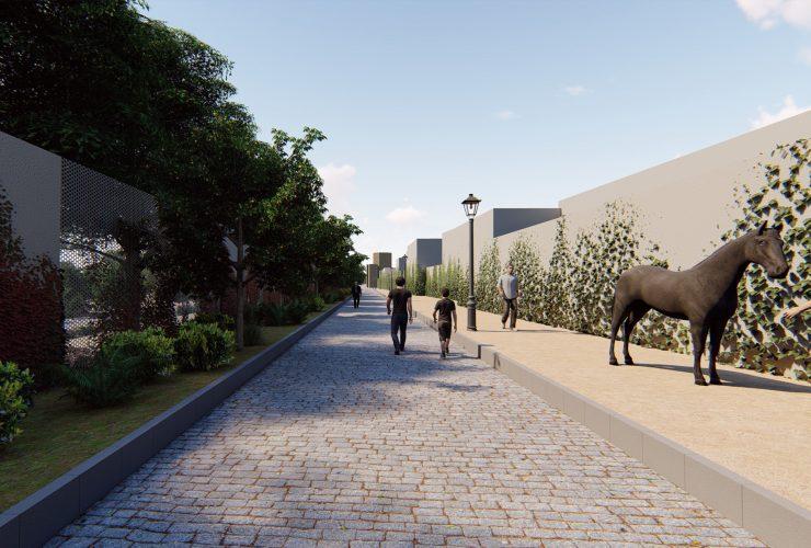 Camino de conexión del proyecto del CIC entre el edificio central y la huerta de Caballerizas Reales